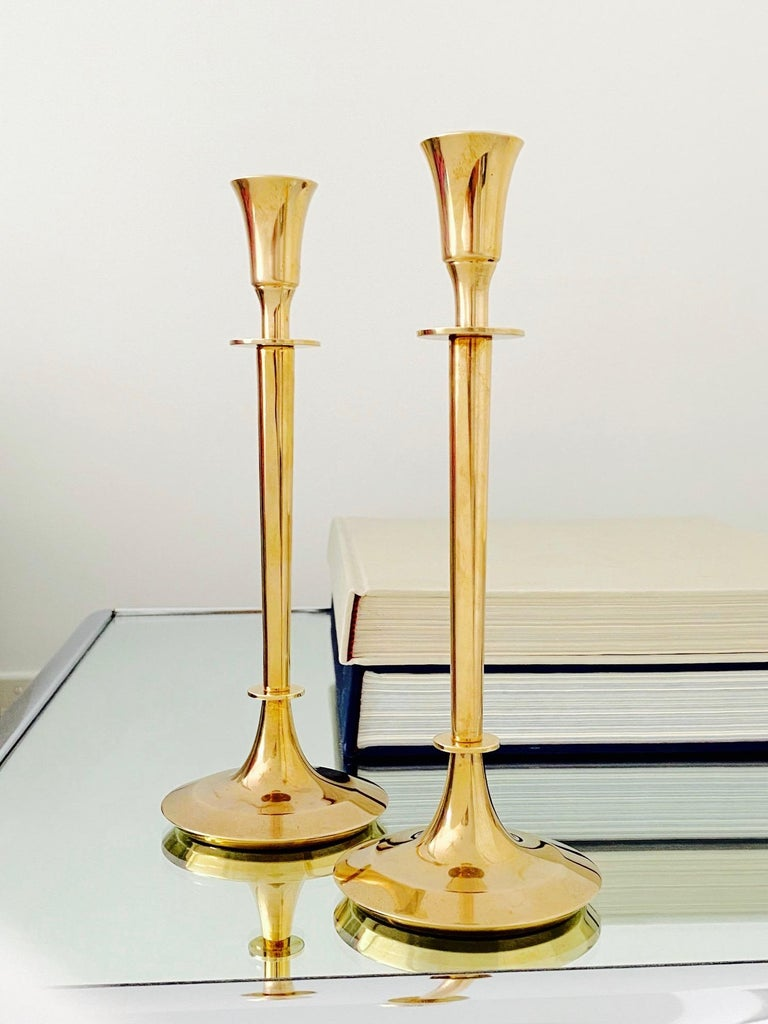 Pair of Mid-Century Modern Brass Candlesticks, Sweden, c. 1960's For Sale 6