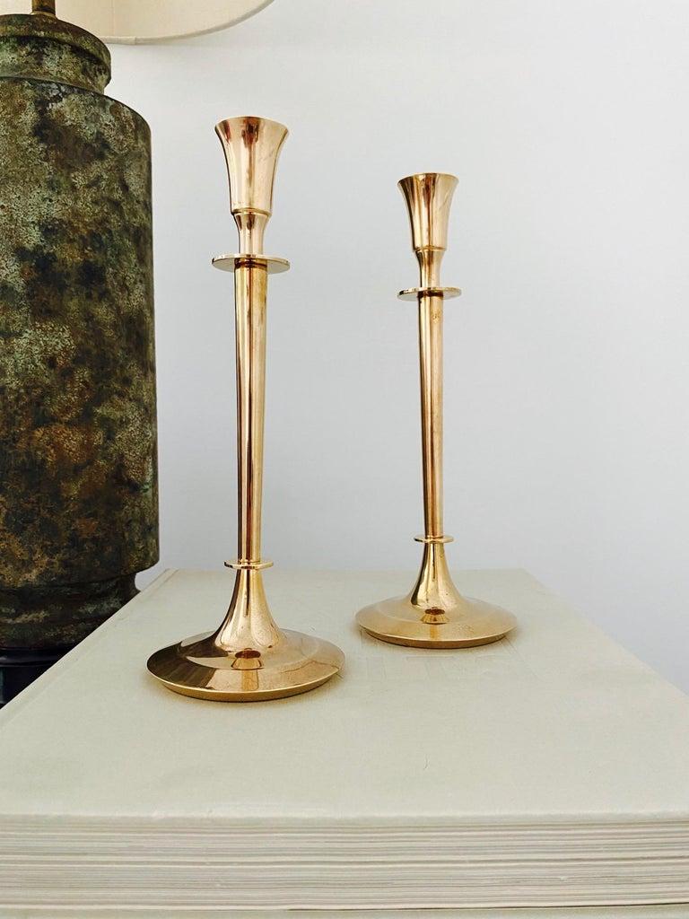 Swedish Pair of Mid-Century Modern Brass Candlesticks, Sweden, c. 1960's For Sale