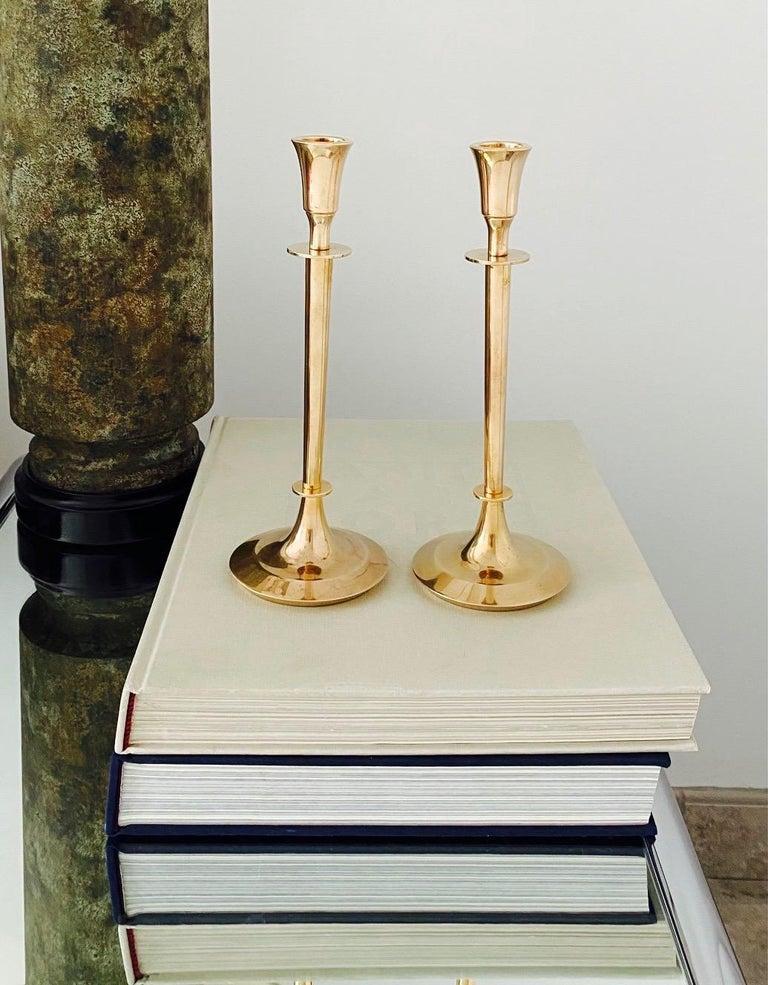 Cast Pair of Mid-Century Modern Brass Candlesticks, Sweden, c. 1960's For Sale