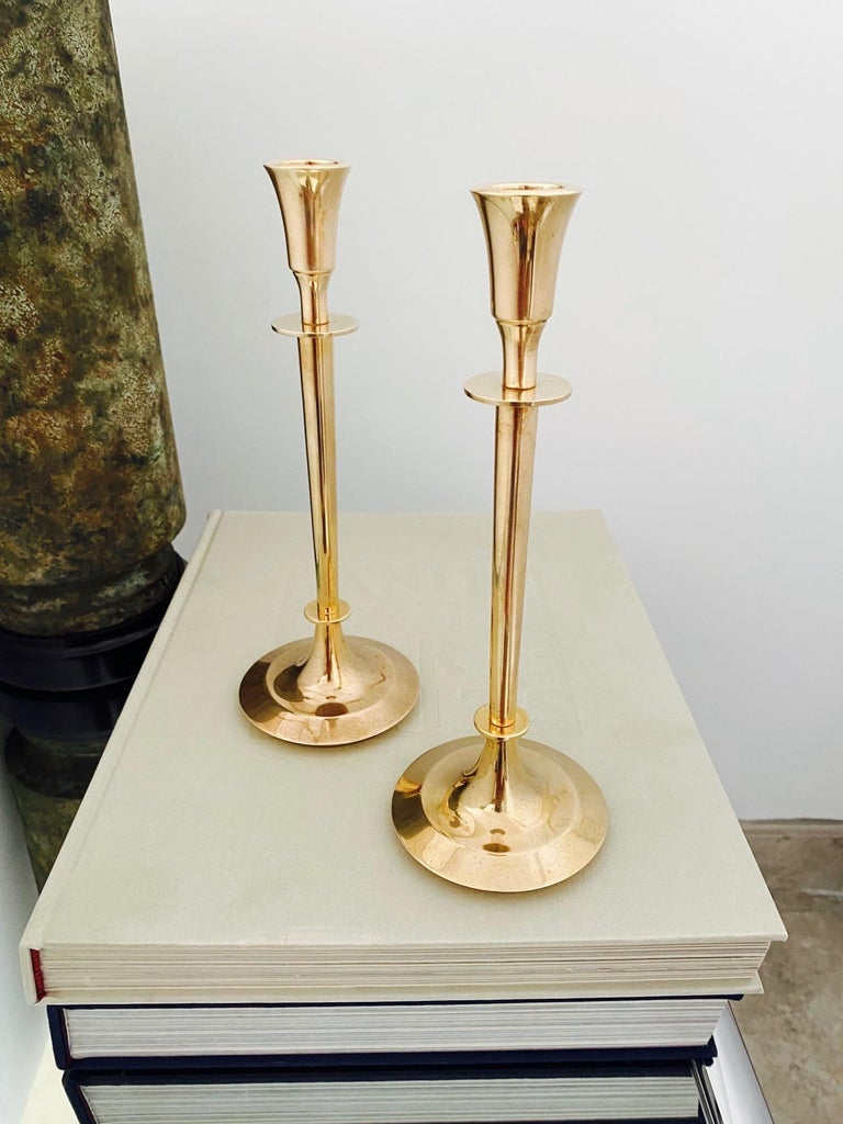 Pair of Mid-Century Modern Brass Candlesticks, Sweden, c. 1960's In Good Condition For Sale In Fort Lauderdale, FL
