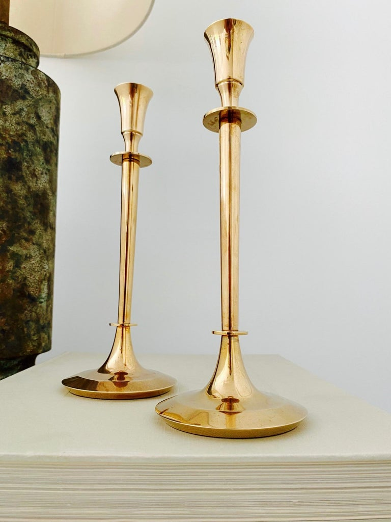 Mid-20th Century Pair of Mid-Century Modern Brass Candlesticks, Sweden, c. 1960's For Sale