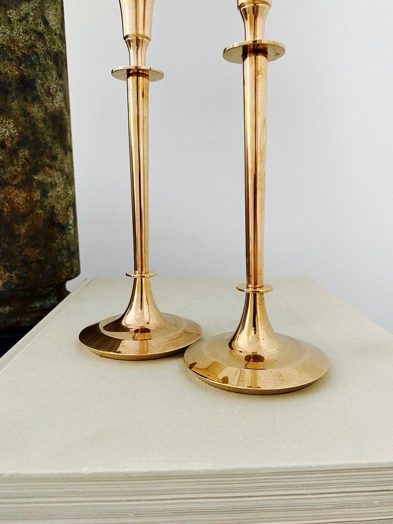 Pair of Mid-Century Modern Brass Candlesticks, Sweden, c. 1960's For Sale 1