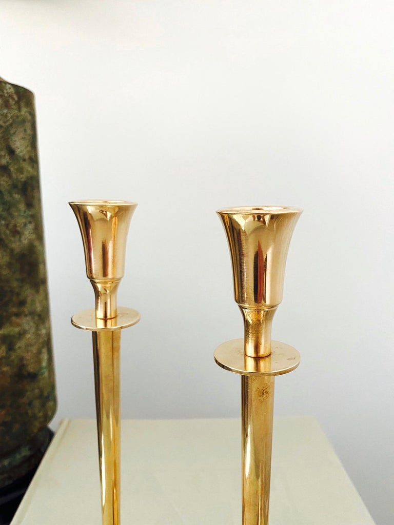 Pair of Mid-Century Modern Brass Candlesticks, Sweden, c. 1960's For Sale 2