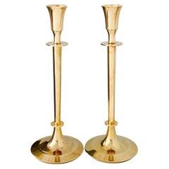 Pair of Mid-Century Modern Brass Candlesticks, Sweden, c. 1960's