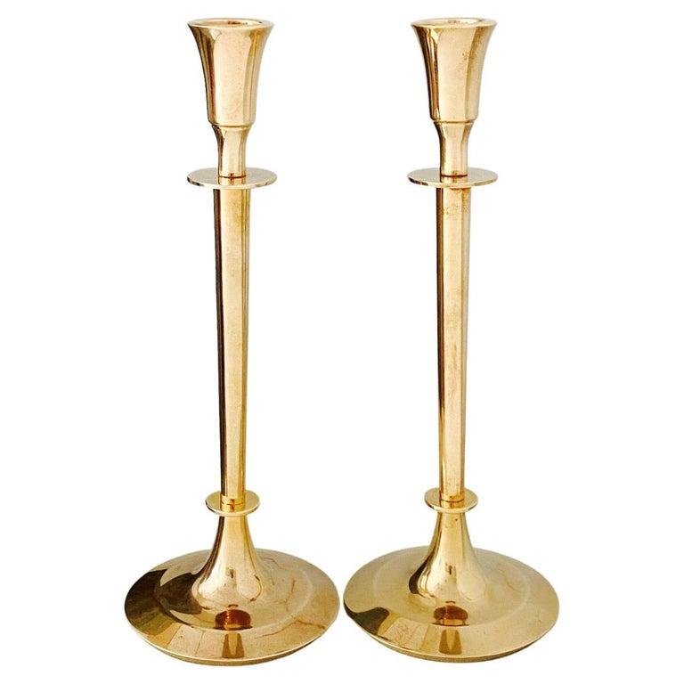 Pair of Mid-Century Modern Brass Candlesticks, Sweden, c. 1960's For Sale
