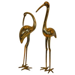 Pair of Mid-Century Modern Brass Crane Sculptures