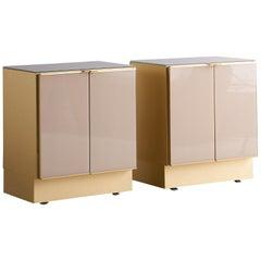 Pair of Mid-Century Modern Brass Ello Nightstands with Two Doors