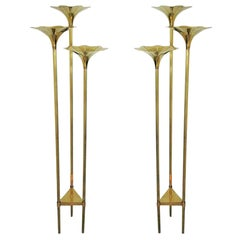 Pair of Mid-Century Modern Brass Floor Lamps, Gabriella Crespi Style
