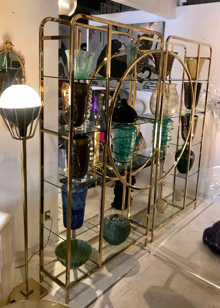 Pair of Mid-Century Modern Brass Floor Lamps with Glass Globes For Sale 6