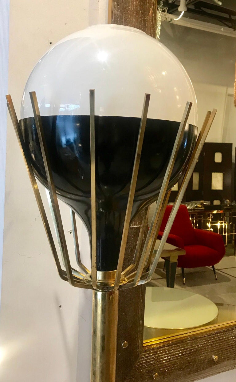 Pair of Mid-Century Modern Brass Floor Lamps with Glass Globes For Sale 7