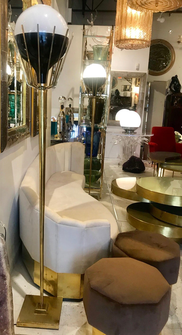 Pair of Mid-Century Modern Brass Floor Lamps with Glass Globes For Sale 8