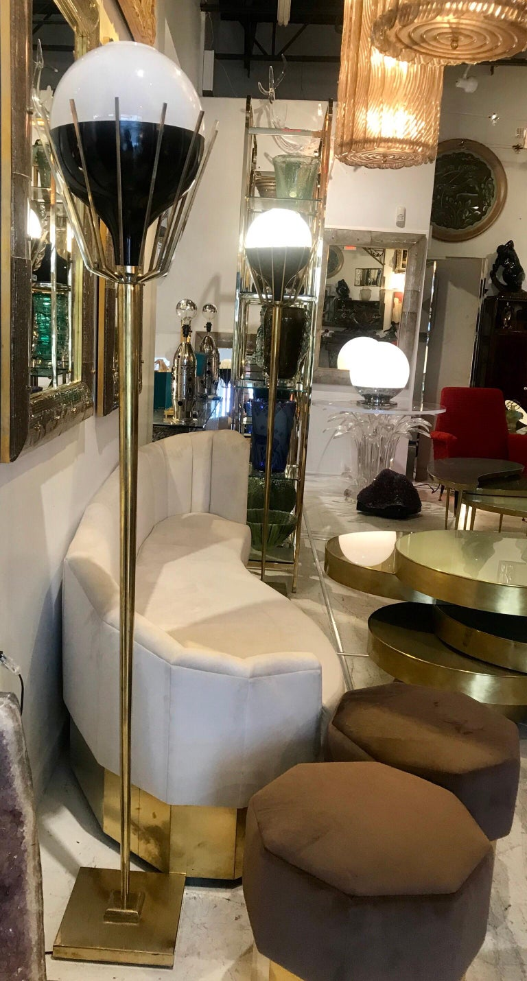 Pair of Mid-Century Modern Brass Floor Lamps with Glass Globes For Sale 9