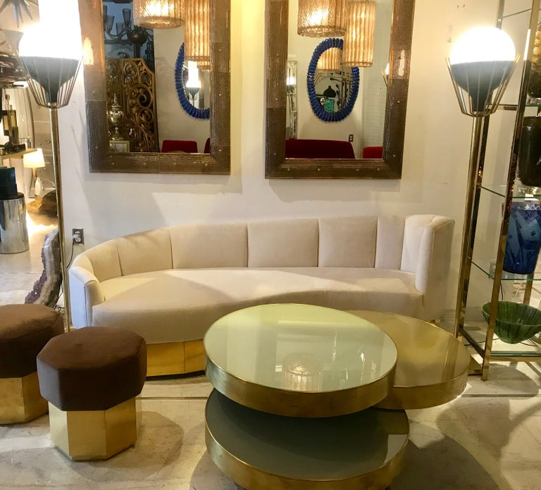 Pair of Mid-Century Modern Brass Floor Lamps with Glass Globes For Sale 10