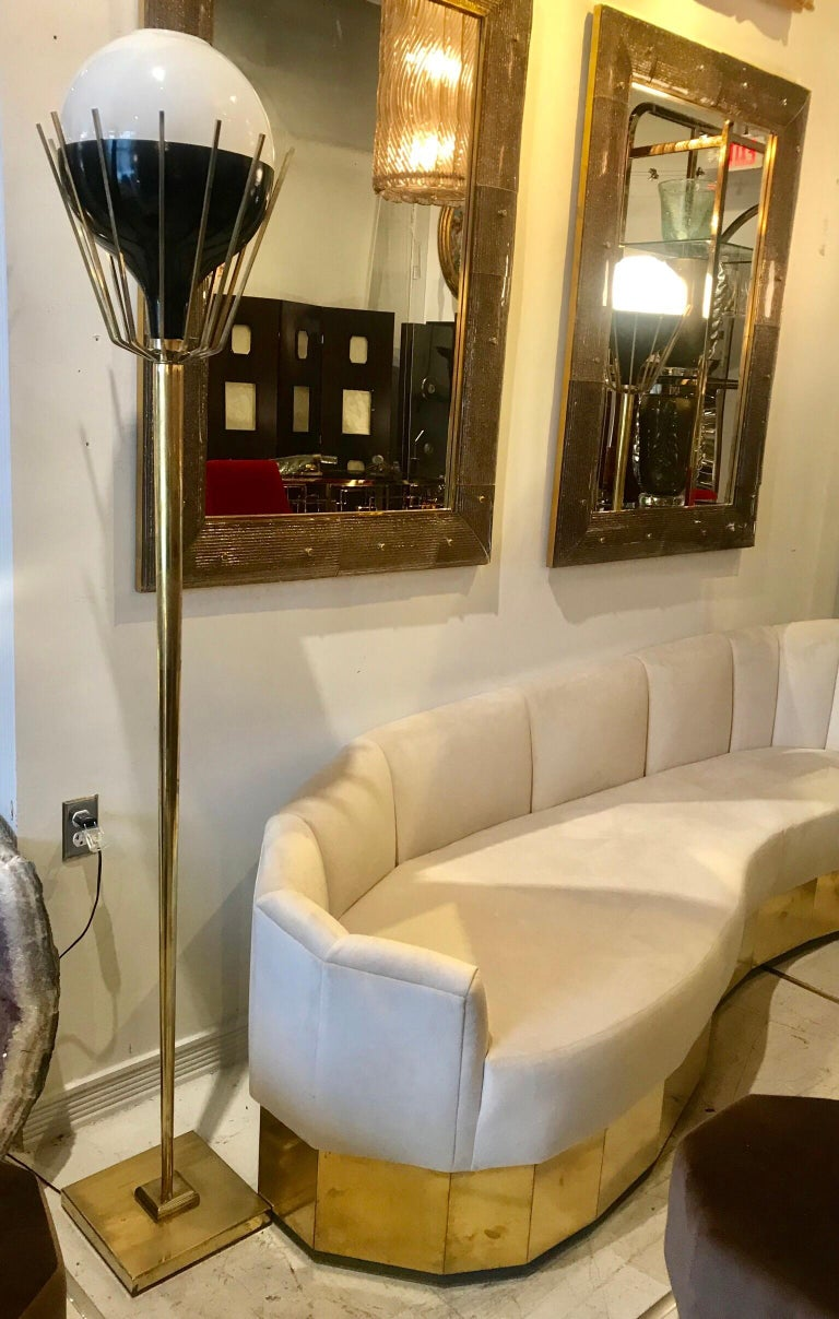 Pair of Mid-Century Modern Brass Floor Lamps with Glass Globes For Sale 11