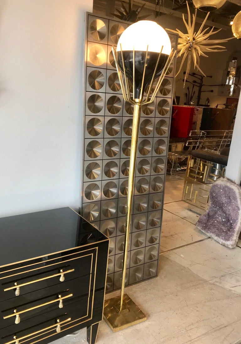 Pair of Mid-Century Modern Brass Floor Lamps with Glass Globes In Good Condition For Sale In Miami, FL
