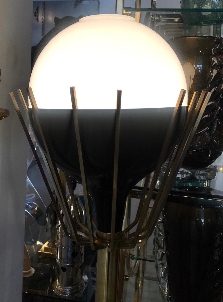 20th Century Pair of Mid-Century Modern Brass Floor Lamps with Glass Globes For Sale