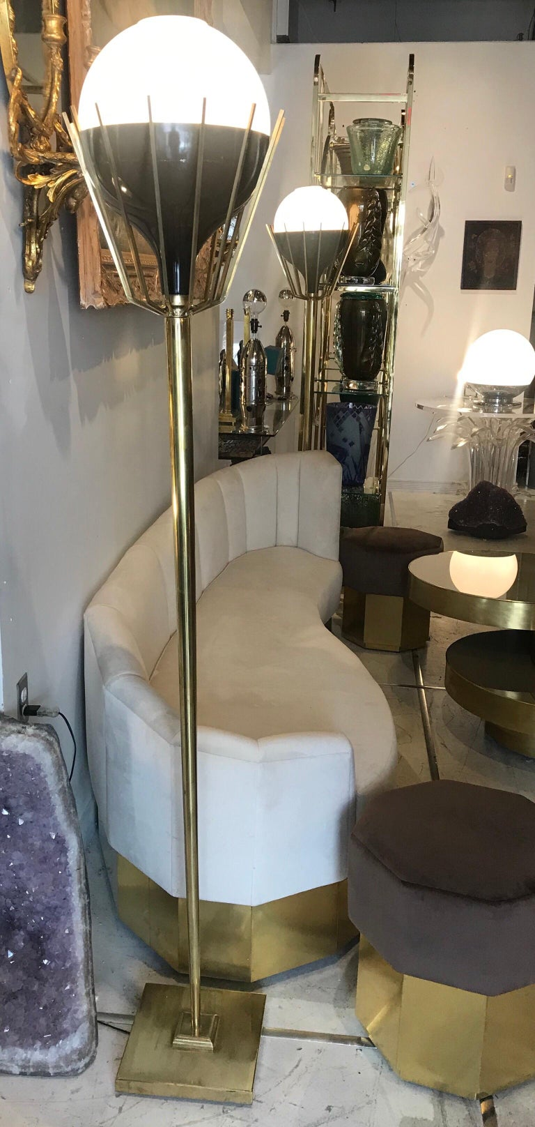 Pair of Mid-Century Modern Brass Floor Lamps with Glass Globes For Sale 2