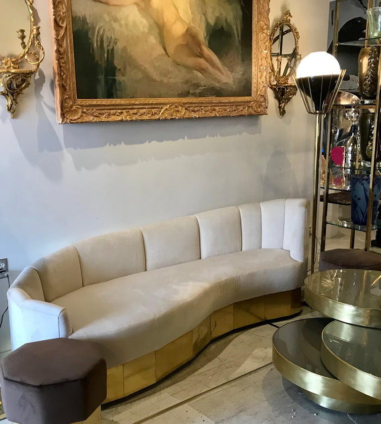 Pair of Mid-Century Modern Brass Floor Lamps with Glass Globes For Sale 4