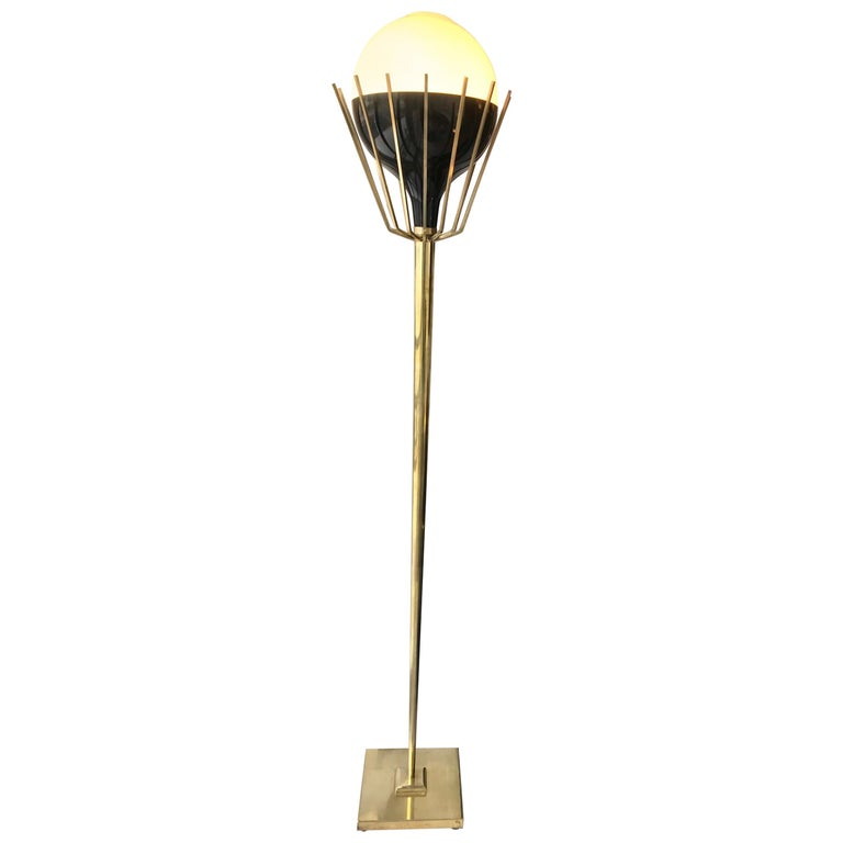 Pair of Mid-Century Modern Brass Floor Lamps with Glass Globes For Sale