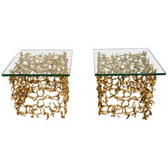 Pair of Mid-Century Modern Brass Human Figural Cube Tables or Coffee Tables