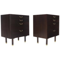 Pair of Mid-Century Modern Brass Pulls Four-Drawer Nightstands Harvey Probber