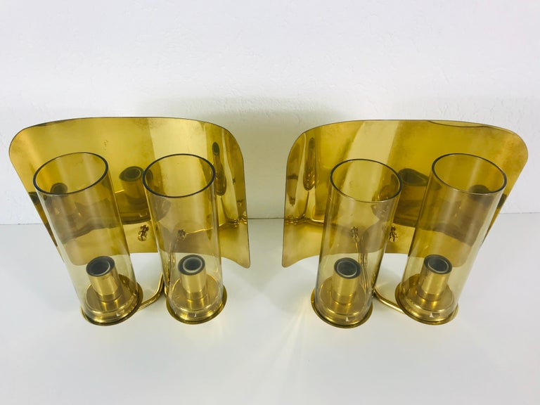 Swedish Pair of Mid-Century Modern Brass Sconces by Hans-Agne Jakobsson, Sweden, 1960s For Sale