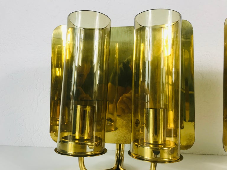Pair of Mid-Century Modern Brass Sconces by Hans-Agne Jakobsson, Sweden, 1960s For Sale 3