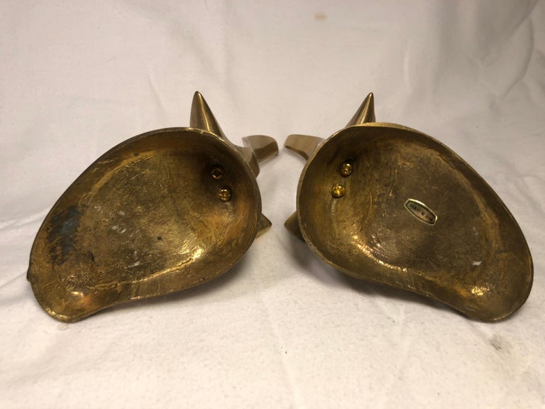 Pair of Mid-Century Modern Brass Seagull Bookends For Sale 5