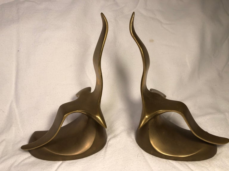 Pair of Mid-Century Modern brass seagull bookends. Perhaps these were based on the very popular novel,