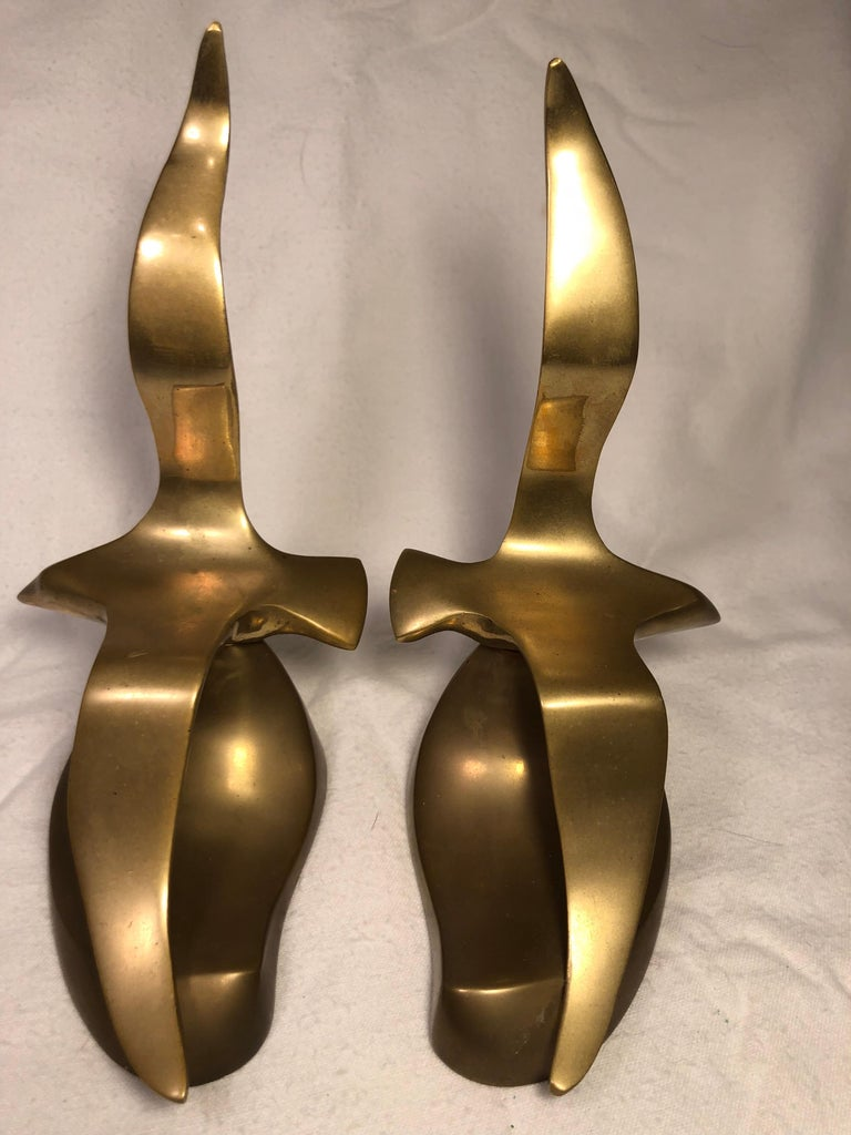 Pair of Mid-Century Modern Brass Seagull Bookends For Sale 2
