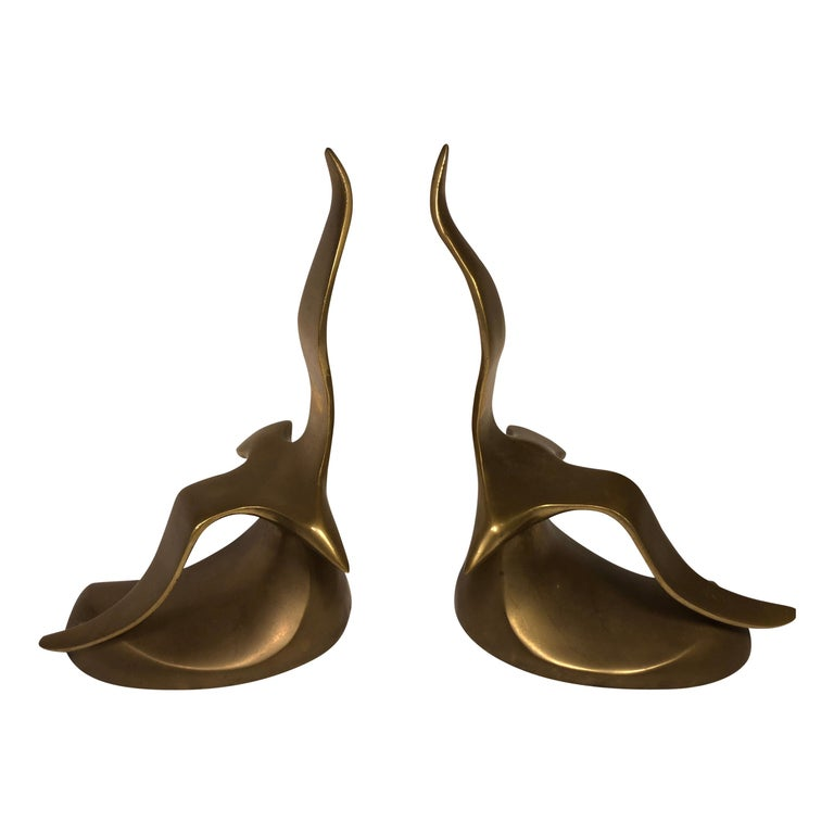 Pair of Mid-Century Modern Brass Seagull Bookends For Sale