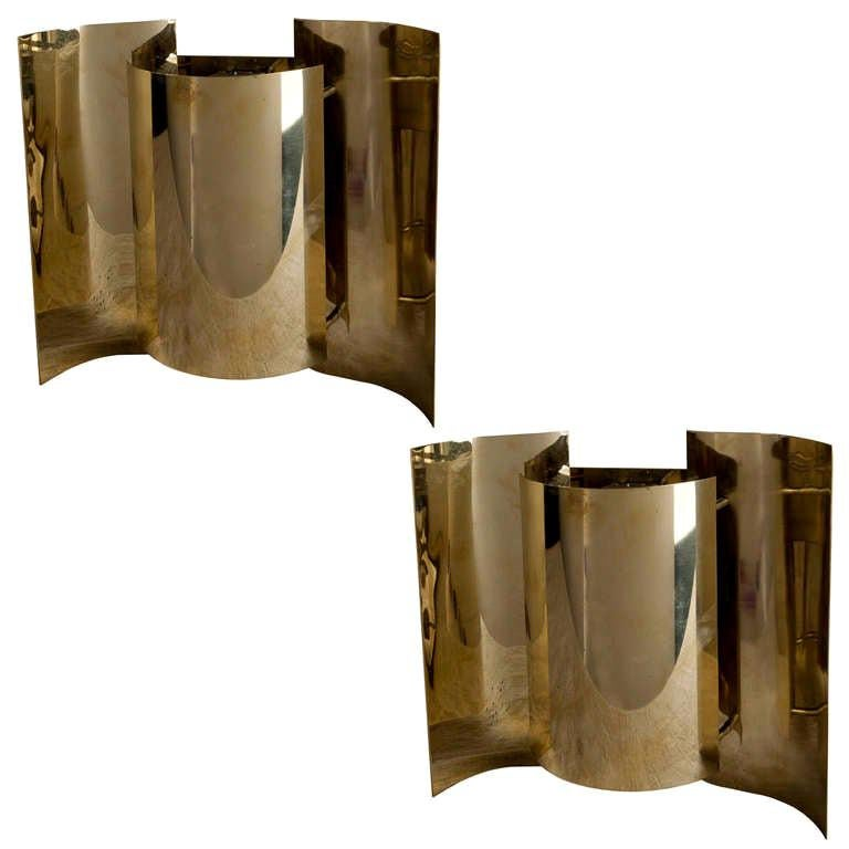 Pair of Mid-Century Modern Brass Ship's Stateroom Sconce Lights For Sale