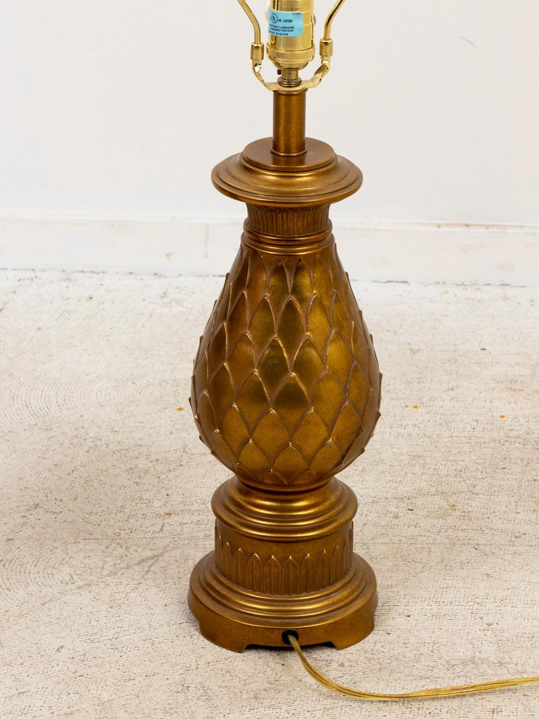 American Pair of Mid-Century Modern Brass Table Lamps For Sale