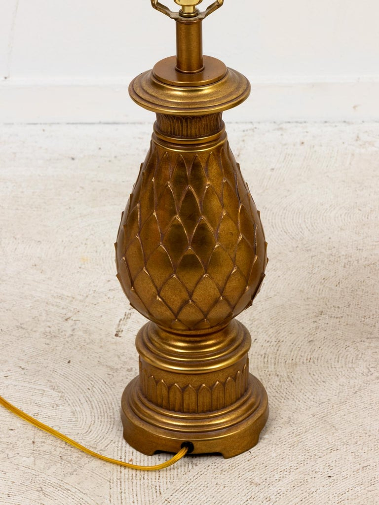 Pair of Mid-Century Modern Brass Table Lamps In Good Condition For Sale In Stamford, CT