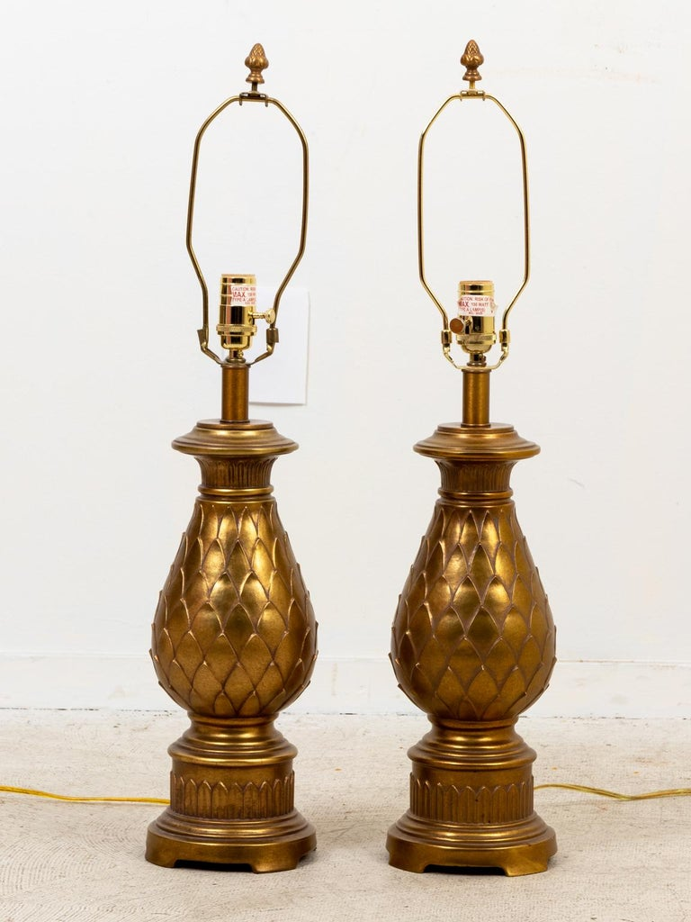 Late 20th Century Pair of Mid-Century Modern Brass Table Lamps For Sale