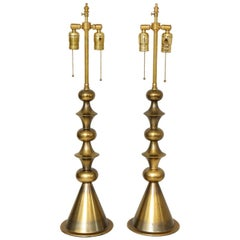 Pair of Mid-Century Modern Brass Table Lamps in the Manner of Tommi Parzinger