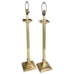Pair of Mid-Century Modern Brass Tall Lamps
