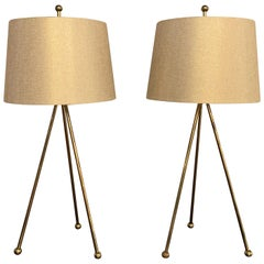 Pair of Mid-Century Modern Brass Tripod Table Lamps