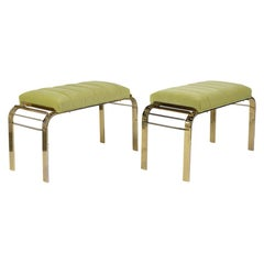 Pair of Mid-Century Modern Brass Tufted Benches