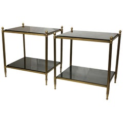 Pair of Mid-Century Modern Bronze and Granite Side Tables