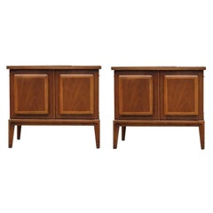Pair of Mid-Century Modern Broyhill Nightstands / Walnut End Tables