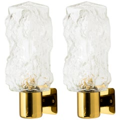 Pair of Mid-Century Modern Brutalist Glass Sconces by Kalmar, 1960s