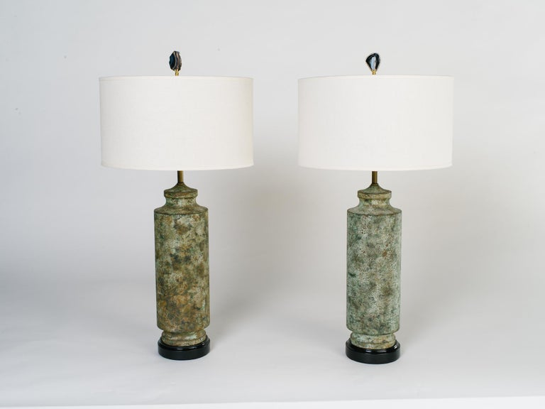 American Pair of Mid-Century Modern Brutalist Lamps in Distressed Oxidized Metal, 1960's For Sale
