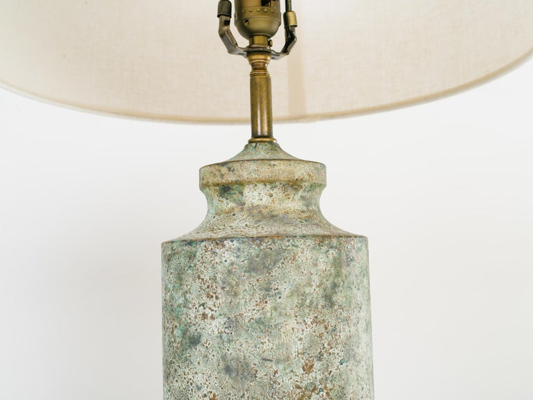 Pair of Mid-Century Modern Brutalist Lamps in Distressed Oxidized Metal, 1960's For Sale 2