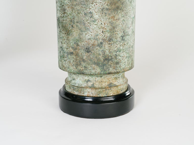 Pair of Mid-Century Modern Brutalist Lamps in Distressed Oxidized Metal, 1960's For Sale 3