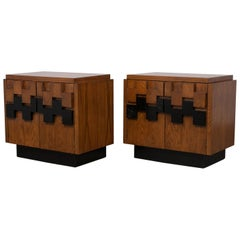 Pair of Mid-Century Modern Brutalist Mosaic Style Nightstands by Lane