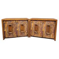 Pair of Mid-Century Modern Brutalist Oak End Tables