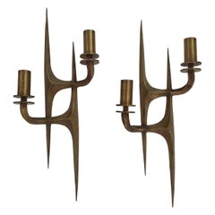 Pair of Mid-Century Modern Brutalist Sconces, Italy, circa 1960s