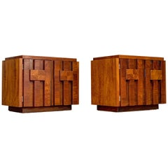 Pair of Mid-Century Modern Brutalist Style Nightstands in Walnut by Lane