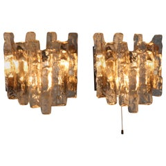 Pair of Mid-Century Modern Brutalist Wall Lights by J.T. Kalmar Austria, 1970s